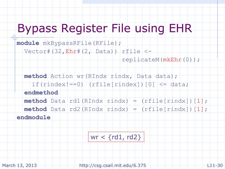 Bypass Register File using EHR