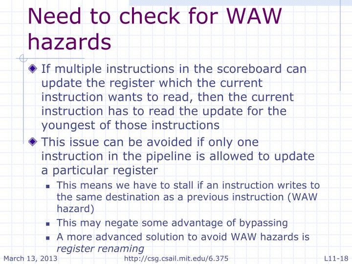 Need to check for WAW hazards