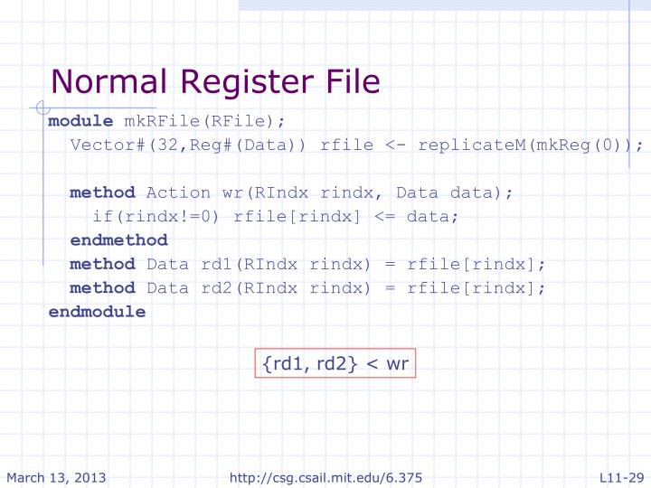 Normal Register File
