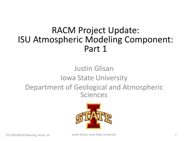 PPT - Justin Glisan Iowa State University Department of