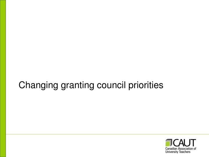 Changing granting council priorities
