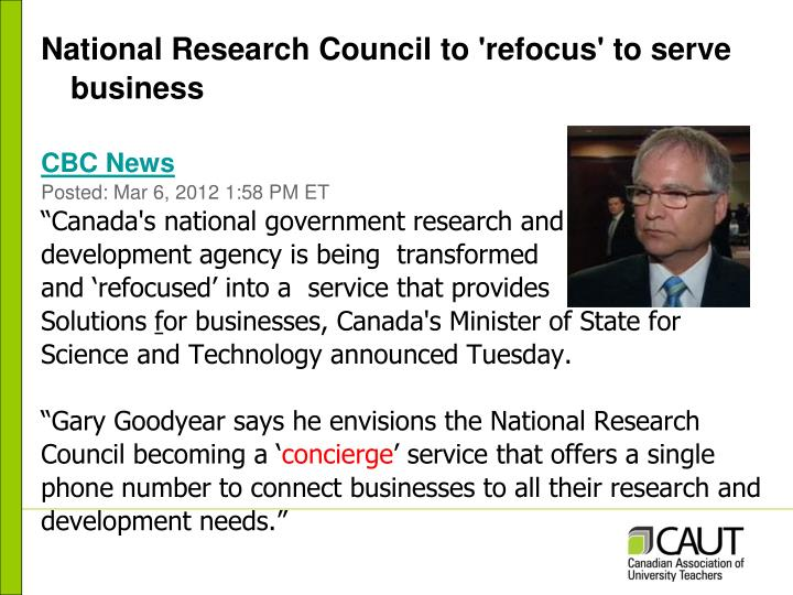 National Research Council to 'refocus' to serve