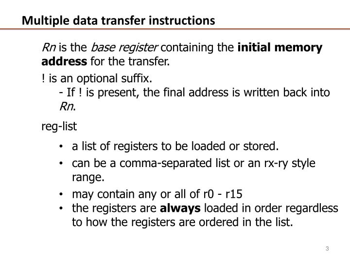 Multiple data transfer instructions2