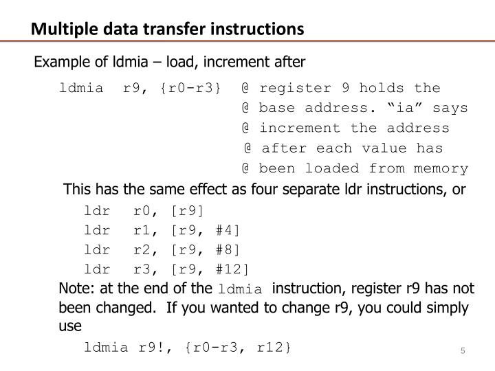 Multiple data transfer instructions