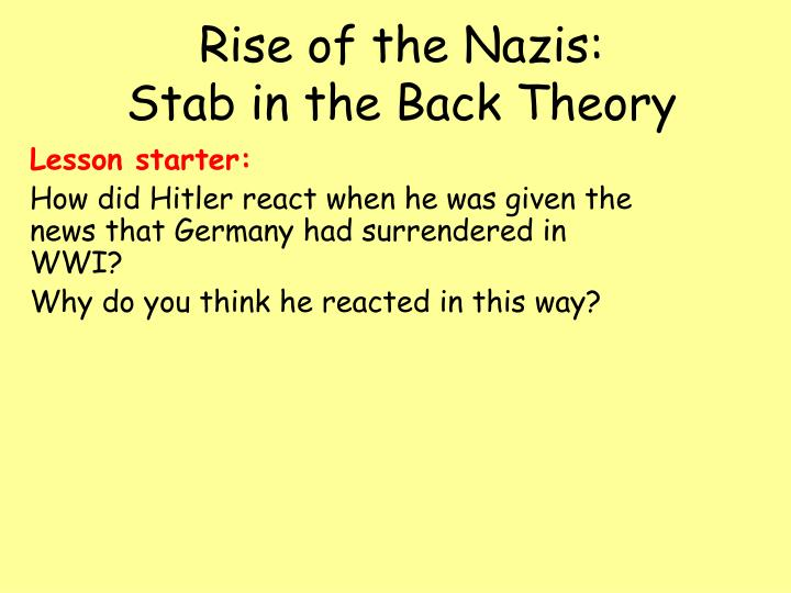 how and why the nazis rose The party contained many of hitler's beliefs and political views and hitler loved them he then stopped being a spy and joined the party thanks to his great speeches he rose through the ranks of the party and eventually became leader of the party and renamed it to the nsdap.