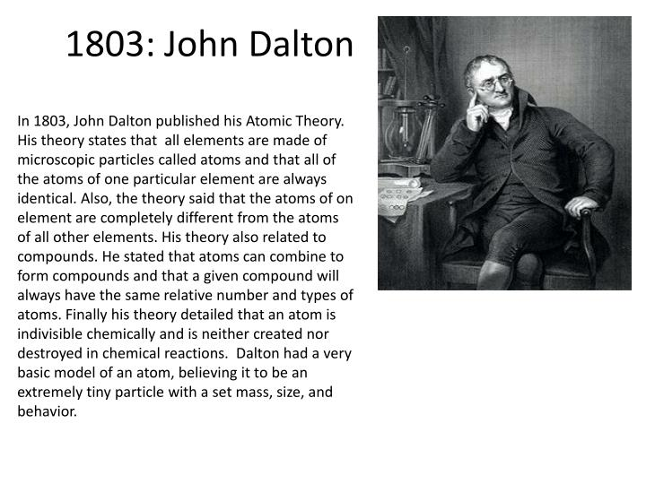 the early life successes and contributions of john dalton in atomic theory Quite a few scientists have helped to create and extend ideas on what an atom is and what its components are one of these discoverers, john dalton, developed the first modern atomic theory.