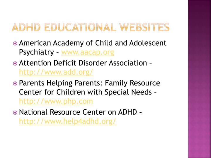 ADHD Educational websites