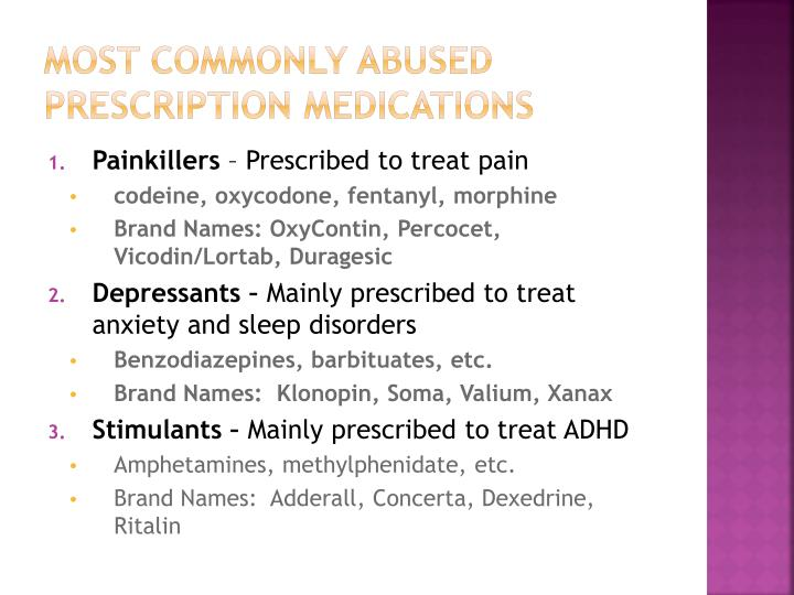 Most commonly abused prescription medications