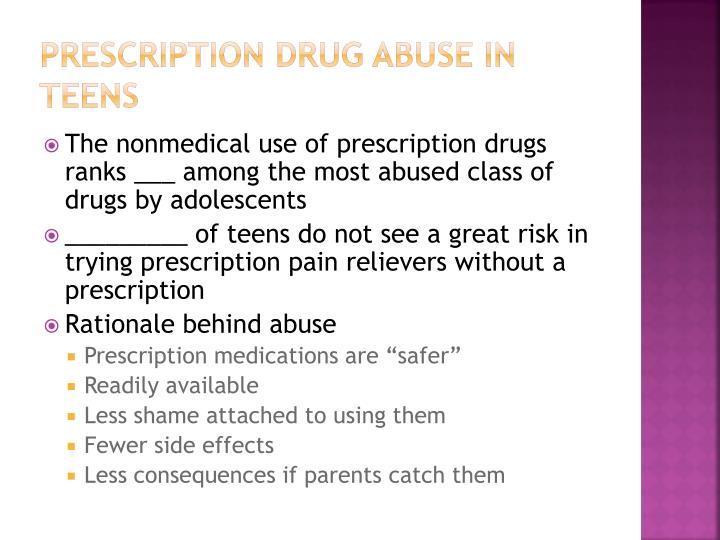 Prescription drug abuse in teens