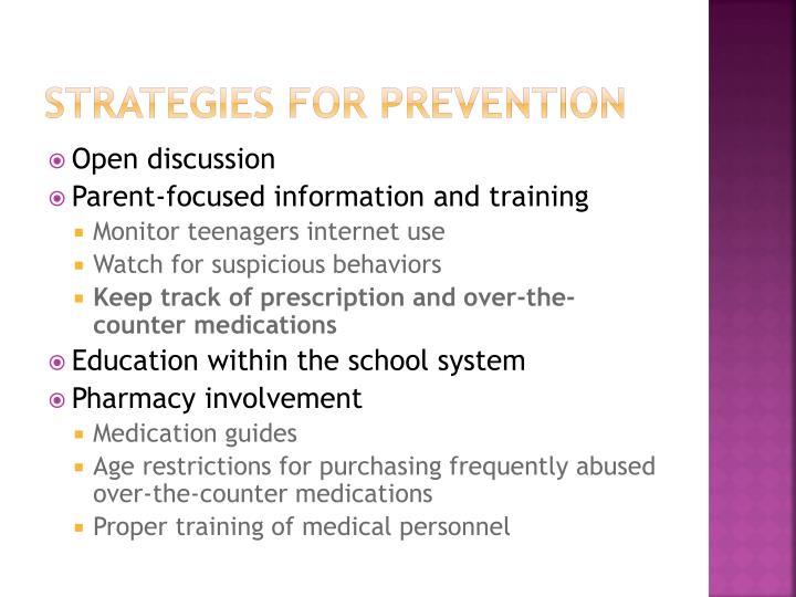 Strategies for prevention