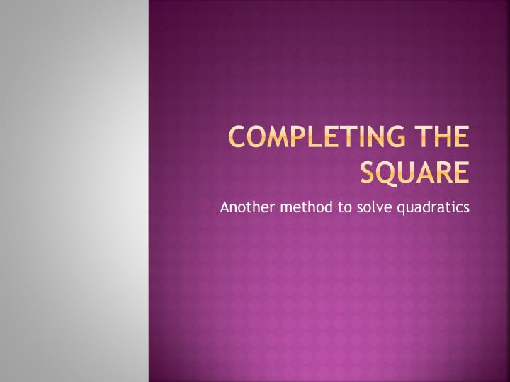 completing the square n.