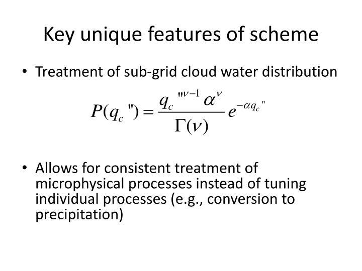 Key unique features of scheme