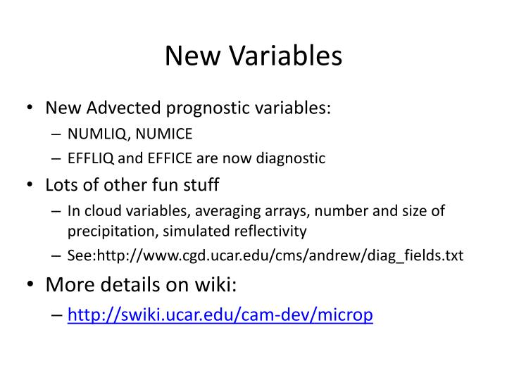 New Variables