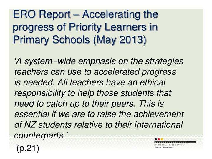 ERO Report – Accelerating the progress of Priority Learners in Primary Schools (May 2013