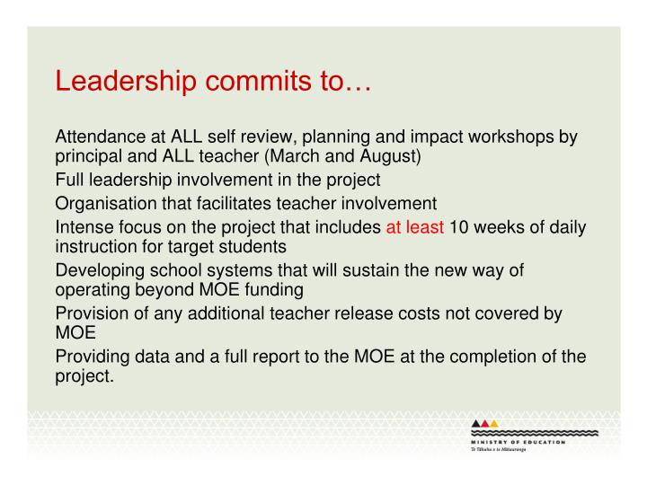 Leadership commits to…