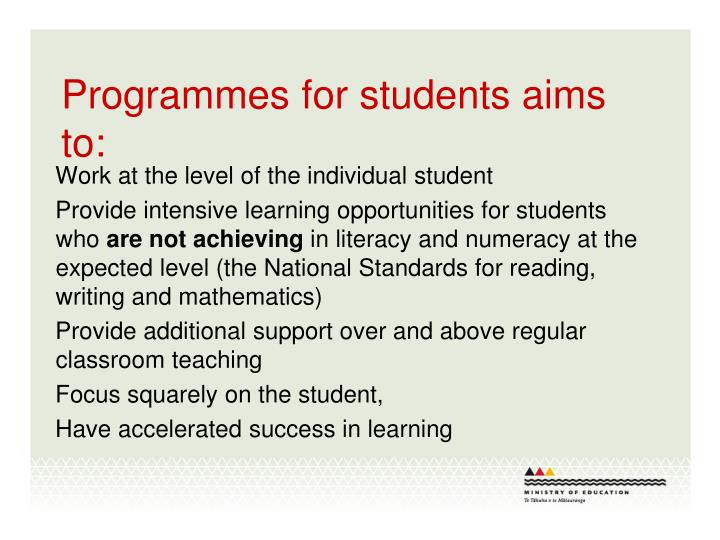 Programmes for students aims to: