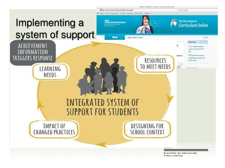 Implementing a system of support
