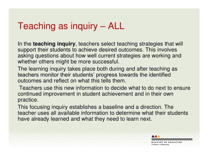 Teaching as inquiry – ALL