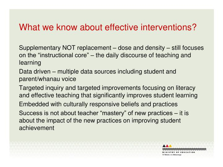 What we know about effective interventions?
