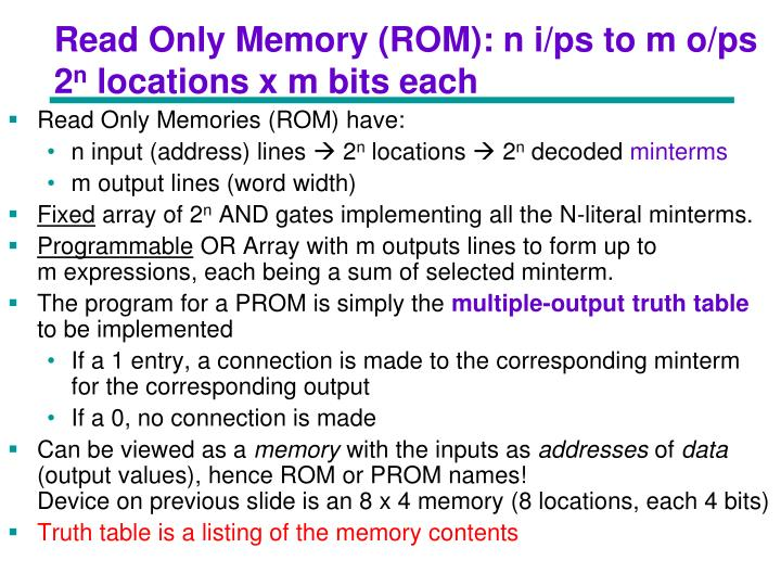 Read Only Memory (ROM): n i/ps to m o/ps
