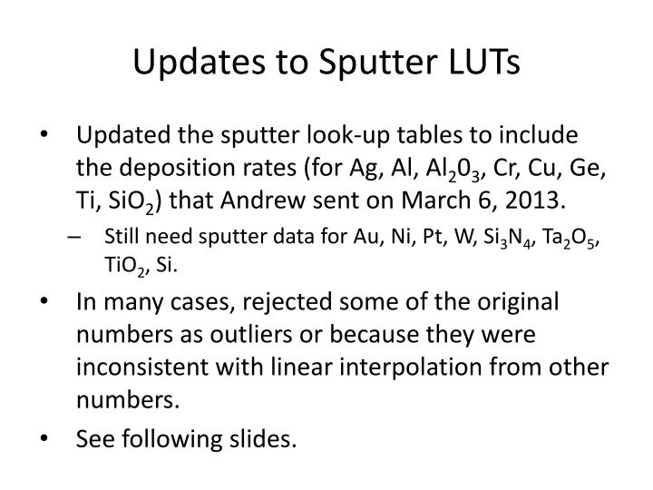 Updates to Sputter