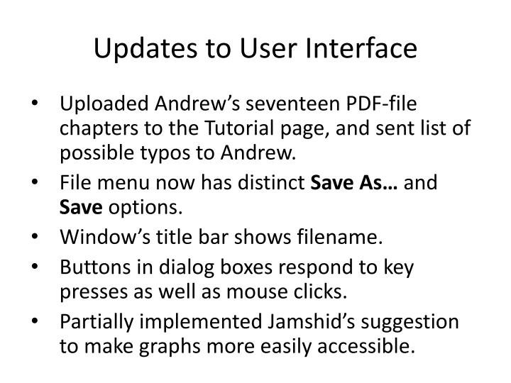 Updates to user interface
