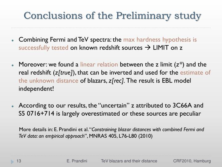 Conclusions of the Preliminary study