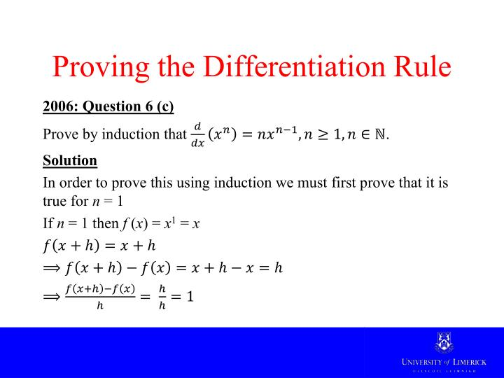 Proving the Differentiation Rule