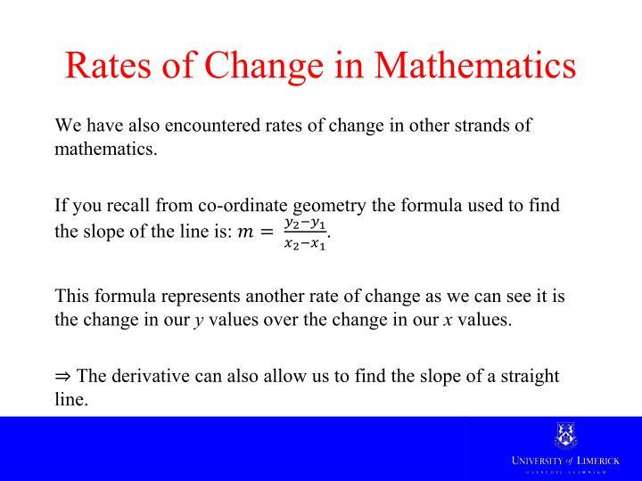 Rates of change in mathematics
