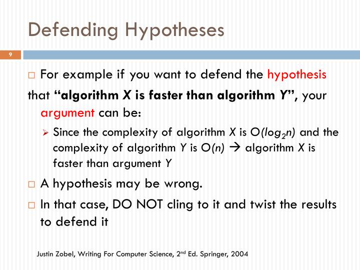 Defending Hypotheses