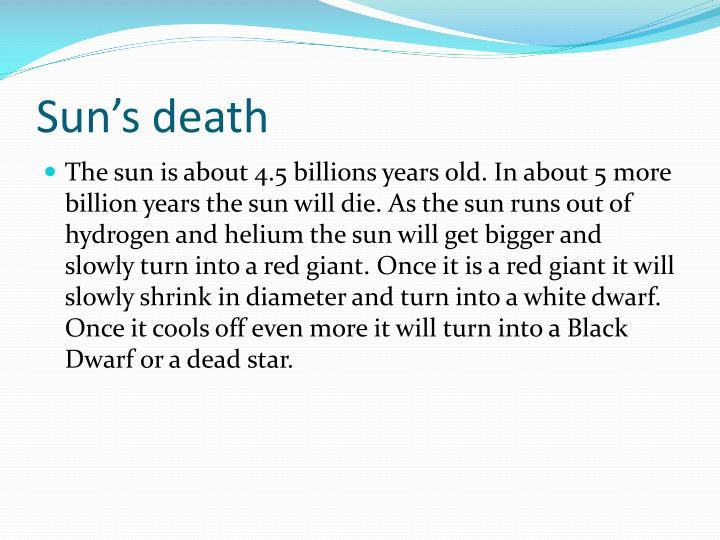 Sun's death