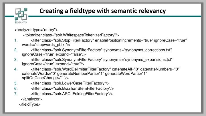Creating a fieldtype with semantic relevancy