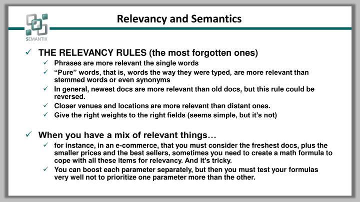 Relevancy and Semantics