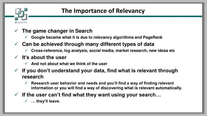 The Importance of Relevancy