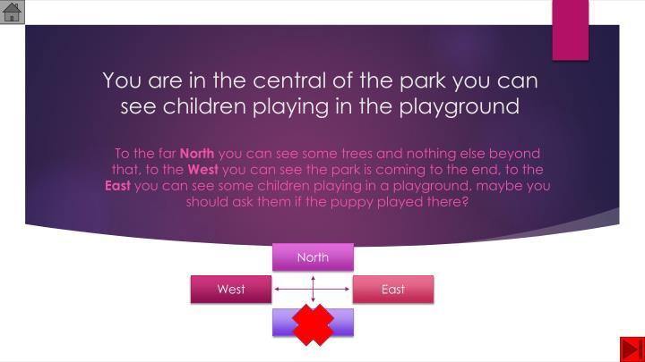 You are in the central of the park you can see children playing in the playground