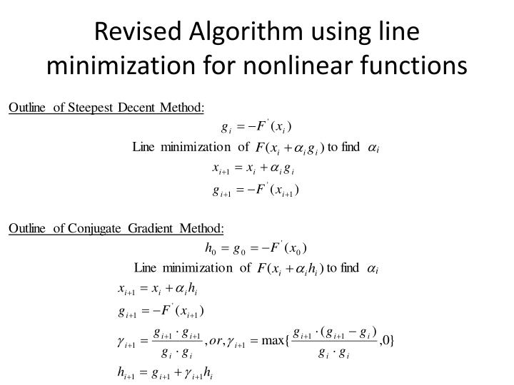 Revised Algorithm using line minimization for nonlinear functions