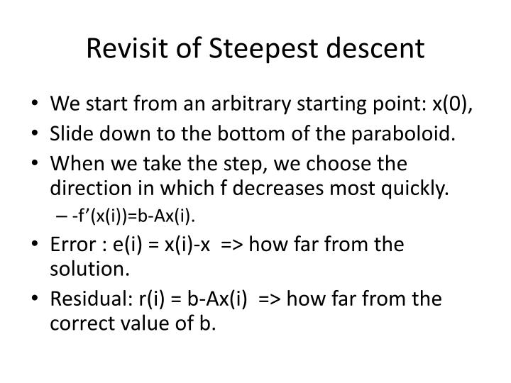 Revisit of Steepest descent