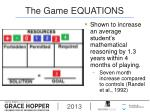 the game equations