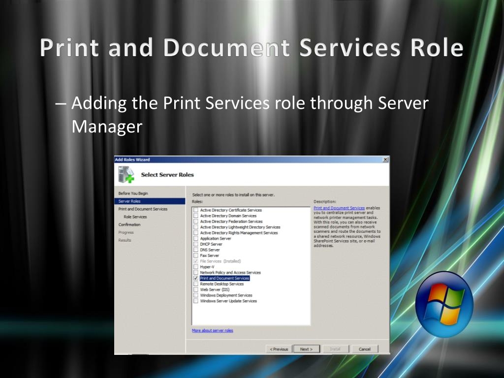 PPT - Sharing Printers on Windows Server 2008 R2 PowerPoint