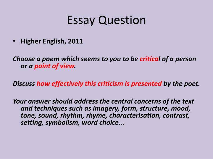 english higher critical essay questions Essay help online, turnaround from 3 hours: get your paper done by an expert higher english critical essay example questions high quality 100% original on time higher english critical essay example questions.