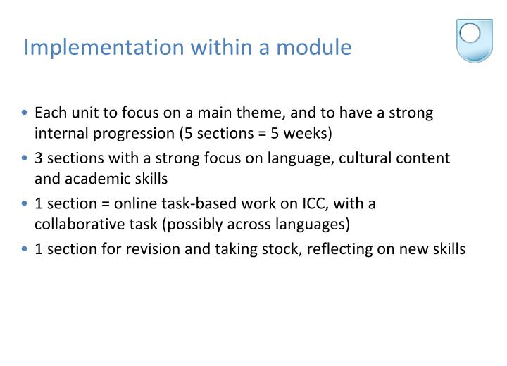 Implementation within a module