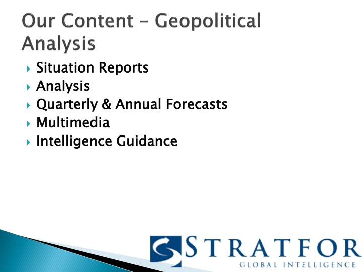 Our Content – Geopolitical Analysis