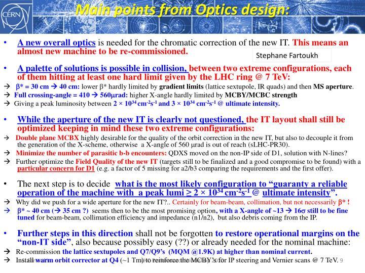 Main points from Optics design: