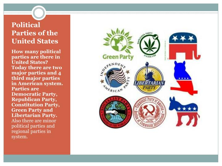 the examination of the concept of political parties in the united states Introduction the united states has a two-party system, with the two largest political parties holding most of the elected offices this is partly a consequence of the first-past-the-post election system but is also due to restrictive ballot access laws imposed on the other political parties there have been many political parties other than the two dominant ones, but most third parties.
