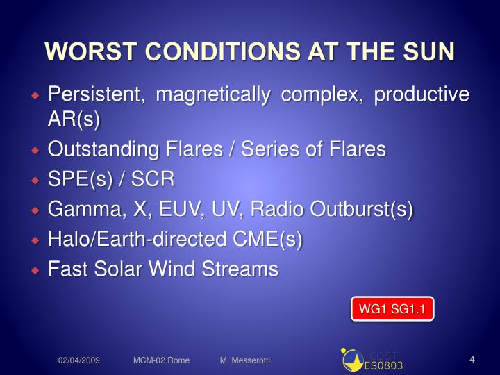 WORST CONDITIONS AT THE SUN