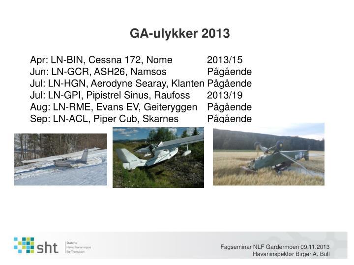 GA-ulykker 2013