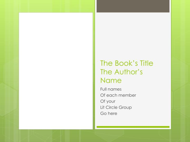 The book s title the author s name