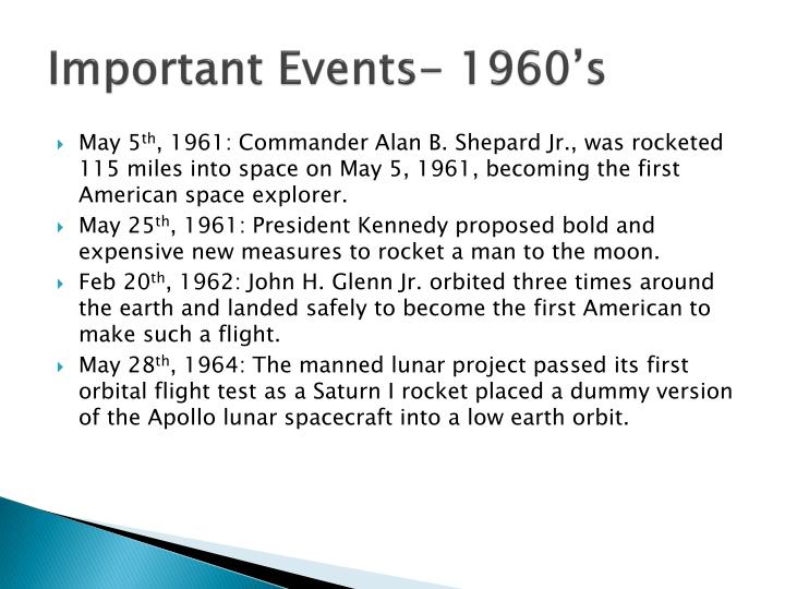 Important events 1960 s