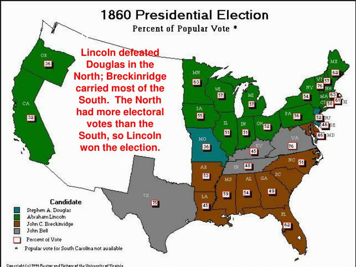 Lincoln defeated Douglas in the North; Breckinridge carried most of the South.  The North had more electoral votes than the South, so Lincoln won the election.