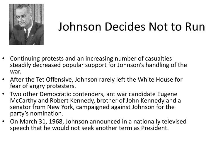 Johnson Decides Not to Run